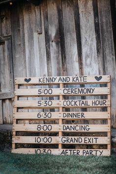 Timeline - wood pallet (perfect for a summer camp wedding!) #weddingplanningtimeline