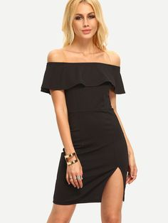Black Off The Shoulder Ruffle Split Dress