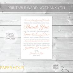 Blush/Gray Printable Wedding Thank You  Classic  by PaperHour