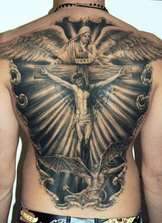 20 Brilliant and Blessed Jesus Tattoo Designs InkDoneright Hello! Here we have nice photo about jesus tattoo designs on back. We hope these. Back Cross Tattoos, Cool Back Tattoos, Cross Tattoo For Men, Back Tattoos For Guys, Cross Tattoo Designs, Tattoo Designs Men, Back Piece Tattoo Men, Backpiece Tattoo, Tattoo Henna
