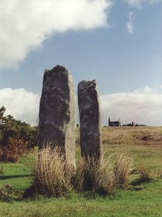 THE PIPERS: 'a pair of standing stones near The Hurlers' stone circles, located on Bodmin Moor near the village of Minions, Cornwall. The Pipers are approximately 2 metres high and the width between them is about the same distance. They are situated about 120 metres west-south-west of the central Hurlers circle. According to folklore they represent musicians playing for three circles of dancers who were turned to stone for engaging in festivities on a holy day'. ✫ღ⊰n