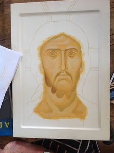 Aidan demonstrating face of Christ 1 Paint Icon, Face Icon, Religious Icons, Orthodox Icons, Sacred Art, Painting Techniques, Book Design, Techno, Drawings