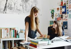 Two Berlin-based illustrators share a studio bursting with natural light, camaraderie and talent.