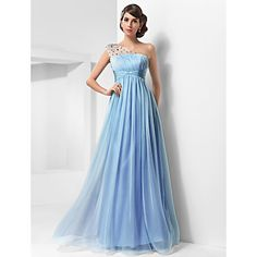 A-line One Shoulder Floor-length Chiffon And Tulle Evening/Prom Dress also in Ivory and Champane – USD $ 88.49