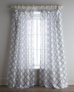 "I love my living room drapes! Softens my living room. ""Ambrosia"" Sheer Curtains by Softline Home Fashions at Horchow. Grey And White Curtains, Grey Curtains, Vintage Curtains, Bedroom Curtains, Contemporary Curtains, Contemporary Furniture, Moroccan Design, My Living Room, Home Accessories"