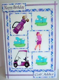 Three squares ladies golf on Craftsuprint designed by Carol Dunne - made by Katie  Silver - I printed the sheet onto matte photo paper and cut out the elements. I mounted the main image onto an A5 card, added the layers and then 2 of the captions as shown. I coloured some silver border peel offs to tone with the card and added them as a border. - Now available for download!