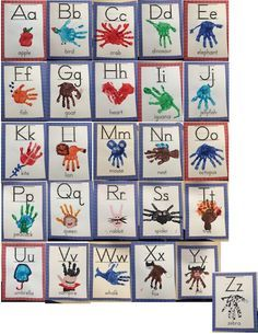 Classroom handprint alphabet chart and student alphabet book. Great to hang as an alphabet chart in your classroom for your students to refer to, giving your students ownership of their learning environment! Abc Crafts, Alphabet Crafts, Alphabet Art, Daycare Crafts, Letter A Crafts, Preschool Activities, Crafts For Kids, Art For Kids, Toddler Alphabet
