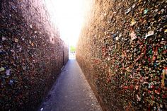 Bubble Gum Alley in San Luis Obispo. When I was young in the 70's there was only gum on the right side.