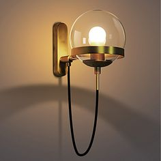 Industrial Vintage Style Brass Wall Light Sconce Globe Glass Lamp Shade Fixture for sale online Hallway Sconces, Hallway Lighting, Wall Sconce Lighting, Hallway Wall Lights, Bathroom Lighting, Hallway Wall Colors, Industrial Wall Lights, Glass Wall Lights, E Bay