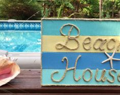This beachy piece of art is made from reclaimed pallet wood and would be perfect for a nautical inspired beach house! Each sign is hand cut, hand sanded and hand painted. Each sign is made to order so no two will be exactly alike due to variations in the wood. All signs have cable wire on the back for easy hanging. Dimensions are approximately 24 x 18 inches.