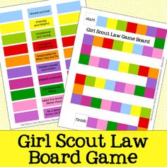 Girl Scout Law Board Game Free Printable - Are you a girl scout leader or parent… Scout Games, Girl Scout Activities, Girl Scout Law, Girl Scout Leader, Brownie Girl Scouts, Girl Scout Cookies, Girl Scout Promise, Girl Scout Badges, Girl Scout Camping