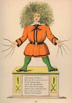 """Der Struwwelpeter (1845) (or Shockheaded Peter) is a German children's book by Heinrich Hoffmann. It comprises ten illustrated and rhymed stories, mostly about children. Each has a clear moral that demonstrates the disastrous consequences of misbehavior in an exaggerated way."