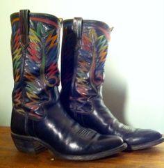 Paul Bond Vintage Cowboy Boots Western Size 10 Rodeo Handmade Custom 77