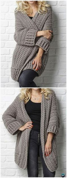 Crochet Big Chill cardigan Pattern - This is the perfect work-from-home sweater - so cozy, so warm! Crochet Women Sweater Coat Cardigan Free Patterns: Crochet Open Front Sweater Coat, Button Up Sweater Coat, Zip Up Sweater Cardigan Cardigan Au Crochet, Crochet Coat, Crochet Shawl, Crochet Clothes, Crochet Sweaters, Crochet Cocoon, Ravelry Crochet, Knit Cardigan Pattern, Ravelry Free Crochet Patterns