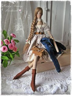 Tilda doll Miss Loretta Tilda doll in Jeans Jacket Handmade Textile Primitive doll OOAK doll Fabric doll Country style Home decor Ready to ship! This handmade doll is my interpretation of a Tilda doll pattern. The doll is wearing a jeans jacket, beige dress and panties decorated