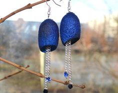 earrings Silk blue Cocoon earrings, earrings, Earrings from cocoons, the silk cocoons are painted by hand. Earrings decorated beads