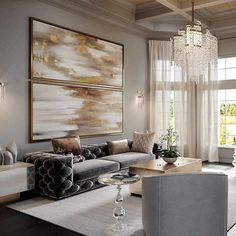Luxury Living Room - Luxury Living Room Furniture and Decor Inspiration! Glam Living Room, Living Room Interior, Home Interior Design, Living Room Furniture, Living Rooms, Elegant Living Room, Sofa Furniture, Luxury Interior, Modern Interior