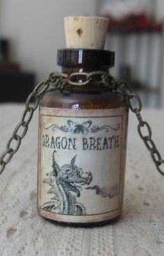 Dragon Breath Potion Bottle Necklace Pendant Apothecary Vial