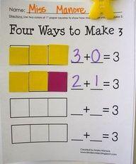 decomposing numbers in Kindergarten. Great activity for Common Core K.OA.3.