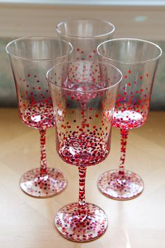 PolkaDotted Wine Goblets set of four hand painted by ArtsyGirl1, $40.00