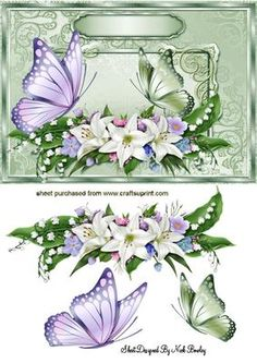 FLOWERS AND BUTTERFLIES IN ORNATE FRAME on Craftsuprint - Add To Basket!