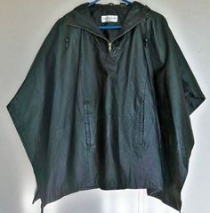 Vintage Black leather retro cape hooded