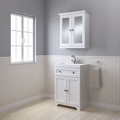 Cooke & Lewis Chadleigh Matt White Vanity unit & basin set - B&Q for all your home and garden supplies and advice on all the latest DIY trends White Vanity Unit, Freestanding Vanity Unit, White Mirror, Vanity Units, Best Bathroom Vanities, Small Bathroom, Bathroom Ideas, Loft Bathroom, Bathrooms