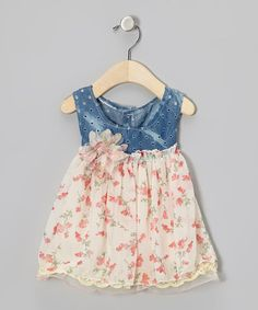 Take a look at this Denim & Cream Floral Chiffon Dress - Infant & Toddler by Bebe Culture on #zulily today!