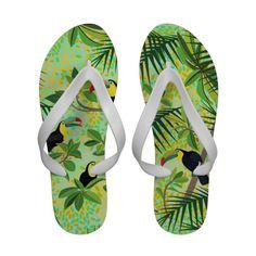 "NEW: ""Toucans"" - Tropical Forest Flip flops"