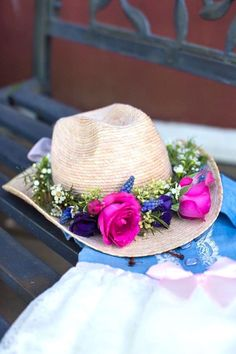 Flower wrapped cowgirl hat from a Cowgirl hat from a Cowgirl Birthday Party Roundup on Kara's Party Ideas | KarasPartyIdeas.com (32)