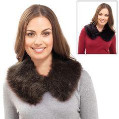 Ladies Faux Fur Collar Brown Or Black Warm Cosy Winter Accessory Wrap Scarf Neck Faux Fur Collar, Fur Collars, Cosy Winter, Winter Accessories, Neck Scarves, Scarf Wrap, Fur Coat, Feminine, Fashion Outfits