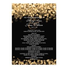 Wedding Program Gold Lights