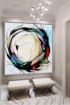 Handmade Large abstract painting, Black and white circle painting on canvas, hand painted minimalist modern art, large abstract wall art - Painting Ideas Large Abstract Wall Art, Painting Abstract, Painting Art, Modern Abstract Art, Large Art, Abstract Print, Geometric Art, Modern Canvas Art, Time Painting