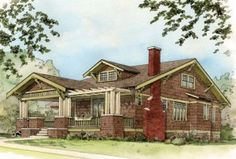 Suburban bungalow. Arts and Crafts. Craftsman Style. Darn near perfect. USA. 20th Century architecture.