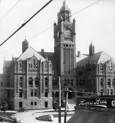 (1900)* - Close-up view of the Los Angeles County Courthouse in 1900, taken from across Broadway near Rivers Bros.  Water and Power Associates