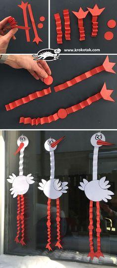 Vorschule Stork Aktivität, Stork Storch in der Luft und mehr Preschool Pictures, Preschool Crafts, Diy Crafts For Kids, Bird Crafts, Animal Crafts, Paper Crafts, Creative Kids, Spring Crafts, Activities For Kids