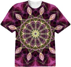 Purple Flower Mandala on a t-shirt. Great quality amazing print all over t-shirt