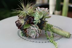 succulent and tillandsia bouquet