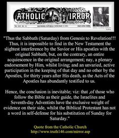 The Roman Catholic Church admitted that only the Seventh-day Adventists and Israelites have Biblical evidence of worshiping on the true #Saturday_Sabbath. Sunday worshipers have no such evidence anywhere in the Bible.