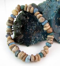 Petoskey stone and Leland bluestone chip stretchy bracelet by rwilberg