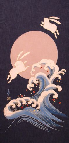 Japanese fabric panel. The Japanese believe you see an Usagi (rabbit) in the moon, instead of a man in the moon.