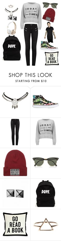 """""""Parental Advisory: Explicit Lyrics"""" by bandsandbroadway ❤ liked on Polyvore featuring Wet Seal, Vans, J Brand, Cheap Monday, Ray-Ban, Waterford, Beats by Dr. Dre and One Bella Casa"""
