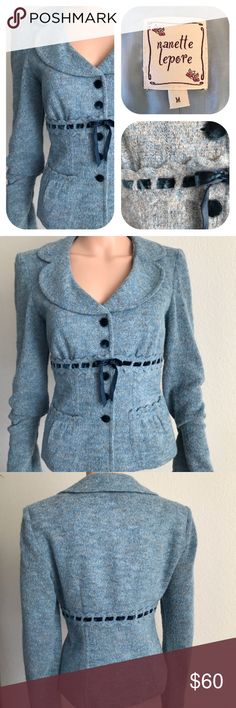 """Nanette Lepore feminine silhouette jacket Great with jeans and heels. Cozy sky blue jacket with delicate scalloped bell sleeves and pockets. Navy blue velvet ribbon at waist and covered buttons (5) 18""""bust 22"""" length 26"""" sleeve. Lined bodice.  (V Nanette Lepore Jackets & Coats"""