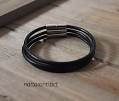 Items similar to Set of 3 leather genuine bracelets in black with magnetic end single subtle reserved on Etsy