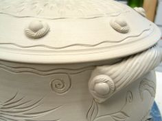 carving and stamping for texture - pigeon road pottery
