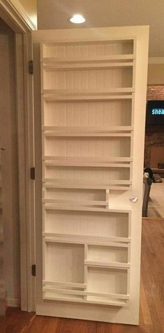 bathroom door shallow storage. A+ idea for camper! #pantryorganizationideas #DIYHomeDecorForMen