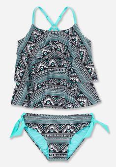 a53bef5d22 geometric print tiered tankini Swimsuits, Bikinis, Swimwear, Swim Shop,  Bathing, Tween