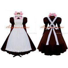 Free Shipping Sexy Dark Red-White Sissy Maid Cotton Dress Lockable Uniform Cosplay Costume Custom-made