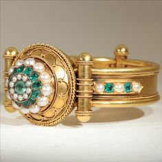 18k Etruscan Revival Emerald and Pearl Bangle c.1870