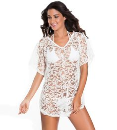 2c8f1d4390 Bohemian Style Draped Wing Half Sleeves Sheer Lace Beach Cover Ups